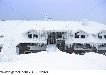 Winter Panorama Landscape With House Under Snow.wonderful Winter Background Of Snow And Frost.pictur
