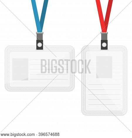 Set Of Two Badges Hanging On Blue And Red Ribbon. Mock Up Template Design Of Ticket Business Card Id