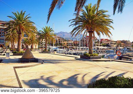 View Of Embankment Of Tivat City And Yacht Marina Of Porto Montenegro On Autumn Day.  Montenegro