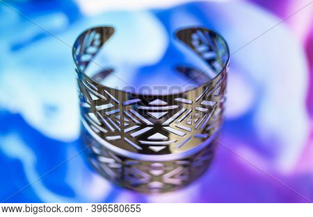 Beautiful And Unique Bracelet On A Colorful Background. Bracelet For Woman.