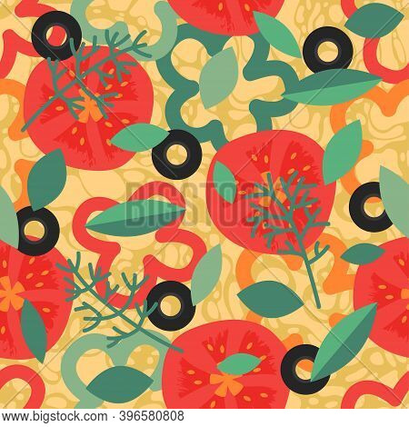 Seamless Pattern With Pizza. Backdrop With Delicious Italian Meal, Appetizing Food. Colorful Realist