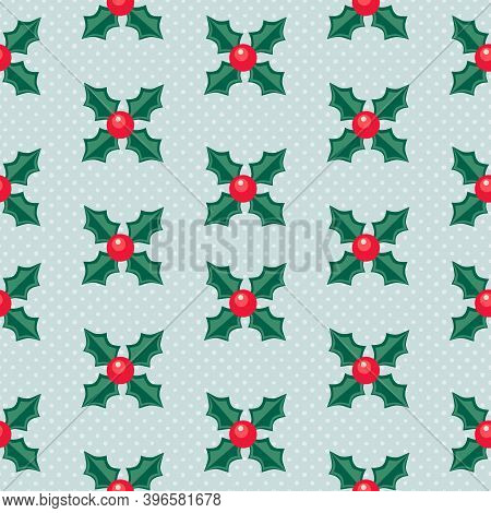 Christmas Decoration Vector Seamless Pattern. Traditional Winter Holiday Season Holly Sprig Vintage