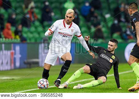Krasnodar, Russia - November 24, 2020: Joan Jordan Of Sevilla Fc Controls The Ball During The Uefa C
