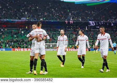 Krasnodar, Russia - November 24, 2020: Youssef En-nesyri Of Sevilla Fc Celebrates After Scoring His