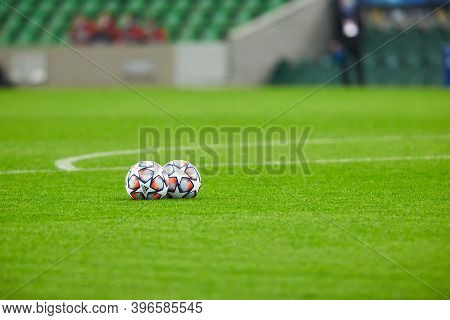 Krasnodar, Russia - November 24, 2020: Two Official Match Ball Of Uefa Champions League Season 2020/