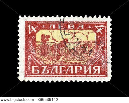 Bulgaria - Circa 1927 : Cancelled Postage Stamp Printed By Bulgaria, That Shows Harvesting, Circa 19