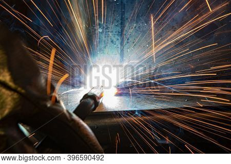 Welder, Craftsman, Erecting Technical Steel Industrial Steel Welder In Factory Technical, Welding Sp