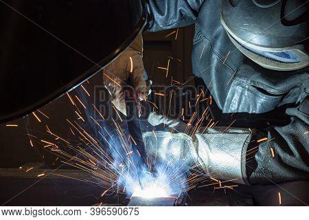 Welder, Craftsman, Erecting Technical Steel Industrial Steel Welder In Factory Technical, Welding Sp