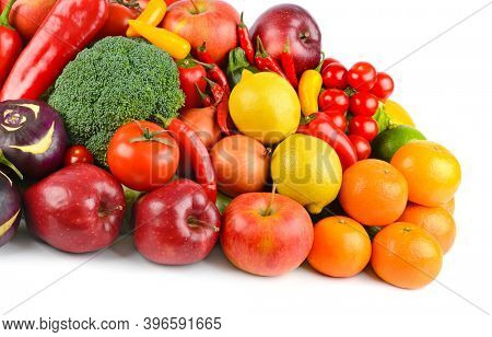 Healthy vegetables and fruits isolated on white background.