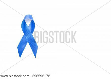 Blue Prostate Ribbon. Awareness Of Men Health In November With Blue Prostate Cancer Ribbon Isolated