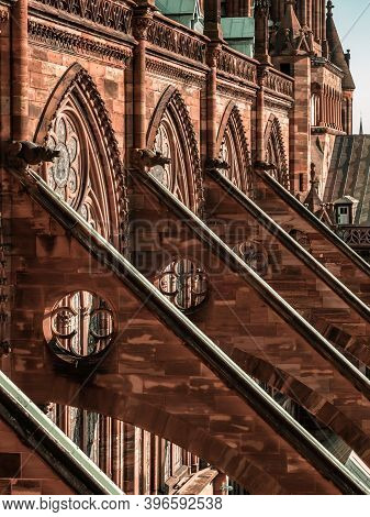 Buttresses And Other Gothic Elements Of The Tallest Cathedral, Strasbourg.