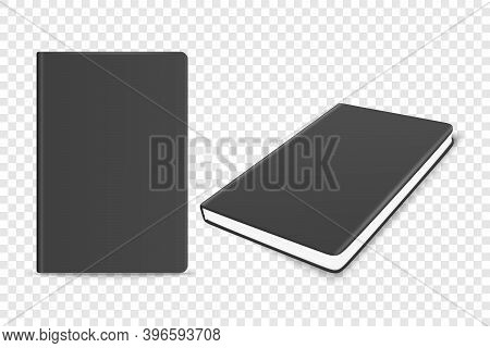 Vector 3d Realistic Black Closed Blank Paper Notebook Set Isolated On Transparent Background. Design