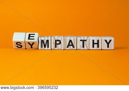 Erom Sympathy To Empathy. Turned Cubes And Changed The Word 'sympathy' To 'empathy'. Beautiful Orang