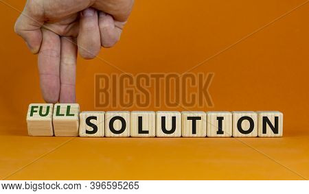 Time To Full Solution. Hand Turns Cubes And Changes Words 'solution' To 'full Solution'. Beautiful O