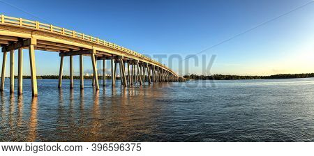 Big Hickory Bridge Crosses New Pass In Estero Bay Toward Bonita Springs, Florida