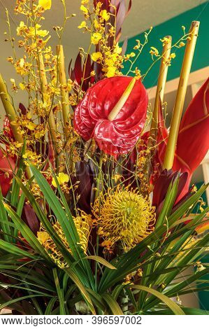 Tropical Bouquet Of Flowers Including Heliconia Bihai, Yellow Oncidium Orchids