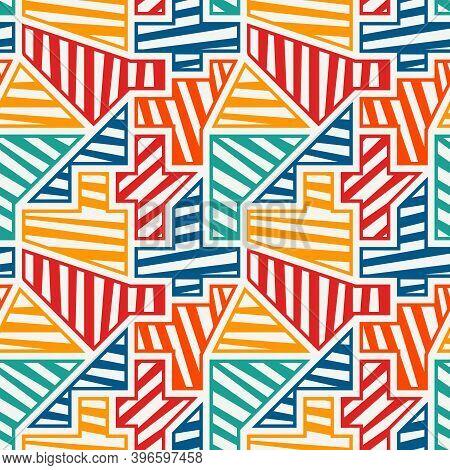 Bright Modern Seamless Pattern. Geometric Pop Art Style Surface Print. Repeated Diagonal Striped Geo
