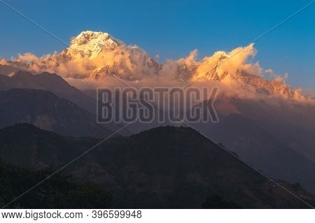 Scenery Of Annapurna Massif In Nepal At Dusk