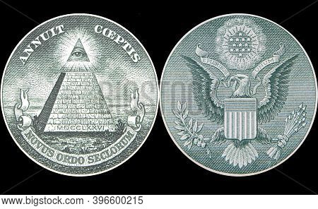 Great Seal Of United States From Reverse Of One Dollar Bill.
