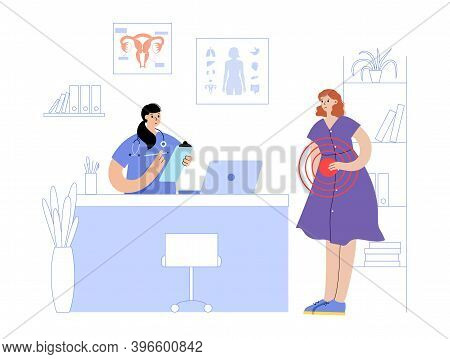 Doctor Gynecologist Consiltation And Appointment. Women Health Clinic Concept. Girl With Pain On Vis