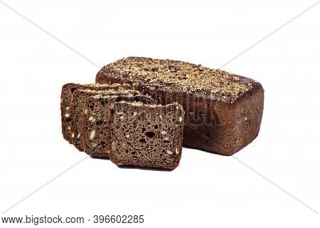 Fresh Bakery Product. Bread. Rye Bread With Sunflower Seeds Isolated On White Background. Top View A