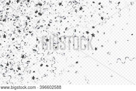 Silver Serpentine Celebration Vector Transparent Background. Christmas Streamer Plant. Spiral Happy