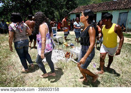 Itaju Do Colonia, Bahia, Brazil - February 24, 2012: Indians Of The Pataxo-ha-ha-hae Ethnicity Perfo