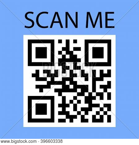 Scan Me In Abstract Style. Communication Icon Symbol. Modern Button With Scan Me. Bar Code Icon. Sto