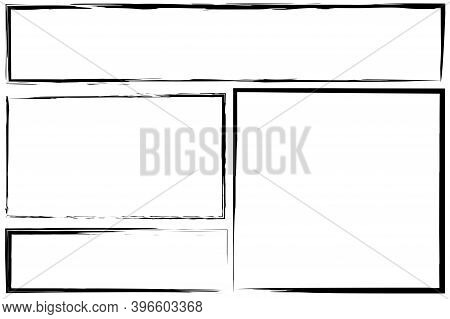 Black Brush Rectangles. Black Frame. Ink Border. Black Boxes Hand-drawn With A Pencil. Stock Image.