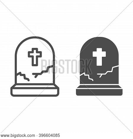 Grave With Cross Line And Solid Icon, Halloween Concept, Grave With Crack Sign On White Background,