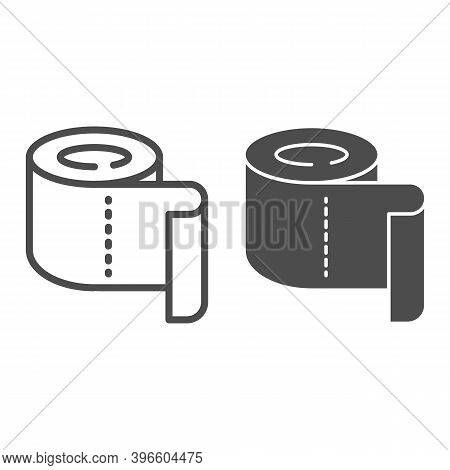 Roll Of Toilet Paper Line And Solid Icon, Hygiene Routine Concept, Roll Paper Towel Sign On White Ba