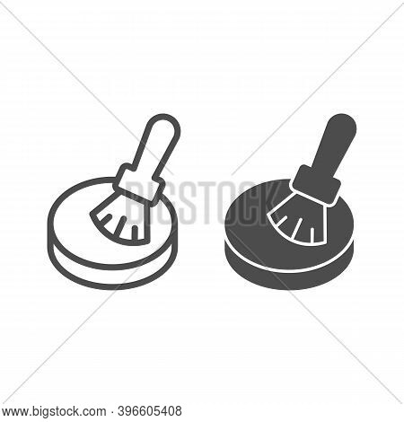 Powder And Brush Line And Solid Icon, Makeup Routine Concept, Powder For Face Sign On White Backgrou
