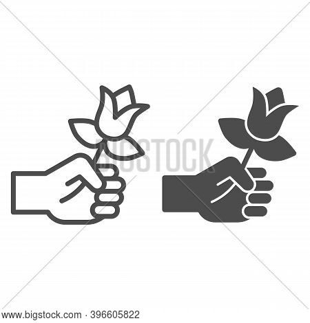 Flower In Hand Line And Solid Icon, Valentine Day Concept, Gift For Beloved Woman Sign On White Back