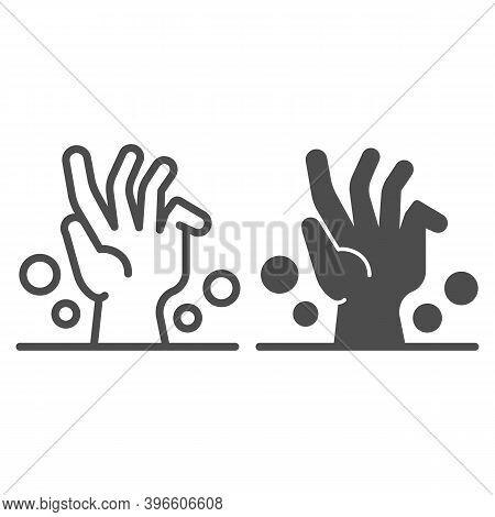 Dead Man Hand Under Ground Line And Solid Icon, Halloween Concept, Zombie Hand Breaking Out From Und