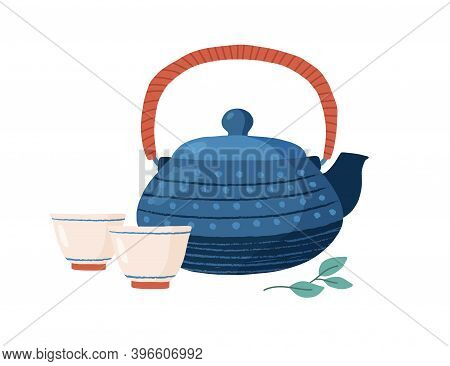 Cast Iron Colored Teapot With Cute Cups And Tealeaf. Tetsubin Kettle In Dots. Kitchen Crockery Isola