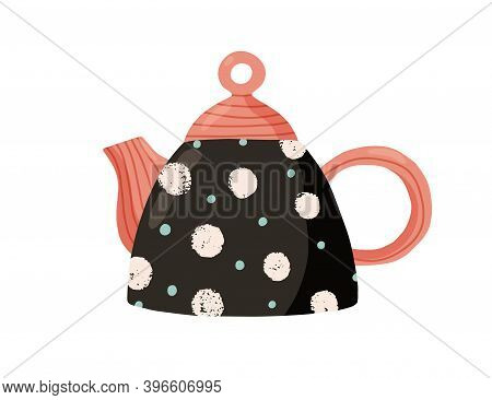 Cute Ceramic Colored Teapot. Adorable Tea Kettle In Dots. Kitchen Crockery Item Isolated On White Ba