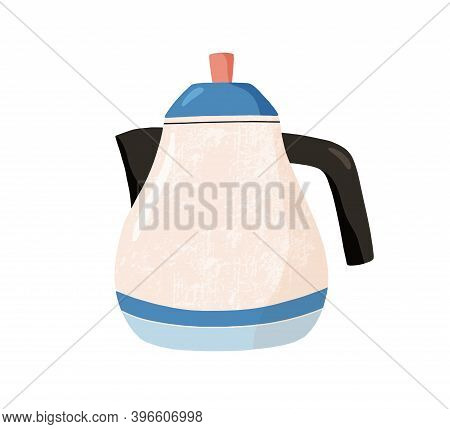 Cute Ceramic Colored Teapot. Modern Tea Kettle. Kitchen Crockery Item Isolated On White Background.