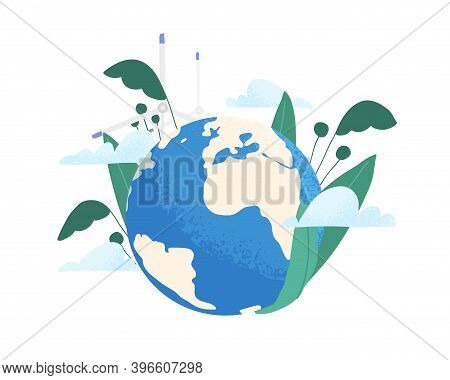 Save The Planet Ecology Concept. Earth Care And Environmental Protection. Eco-friendly Planting And