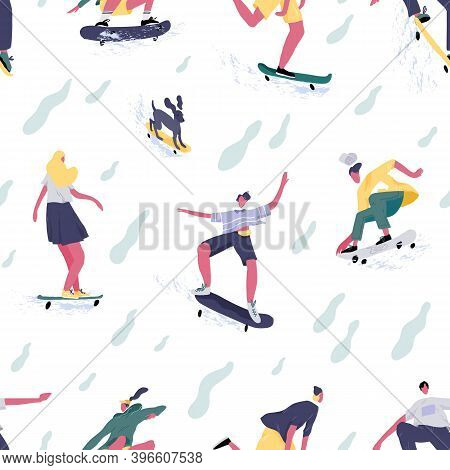 Seamless Pattern Of Teenage Mans And Womens Skateboarders Riding Skateboards. Skaters And Dog Skateb
