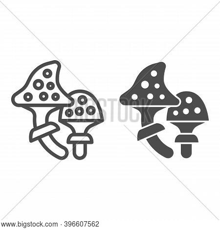 Fly Agaric Line And Solid Icon, Halloween Concept, Speckled Poison Mushroom Sign On White Background