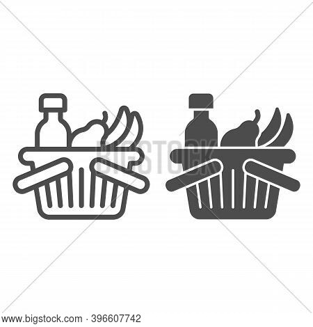 Basket With Bottle And Fruits Line And Solid Icon, Black Friday Concept, Shop Basket Sign On White B