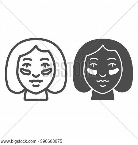 Eyes Patches On Girl Face Line And Solid Icon, Makeup Routine Concept, Girl Face With Patches Sign O
