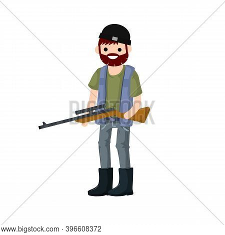 Man Hunter With Gun. Guy With Rifle. Shooter And Weapon.