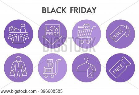 Modern Black Friday Infographic Design Template With Icons. Big Sale Infographic Visualization On Wh