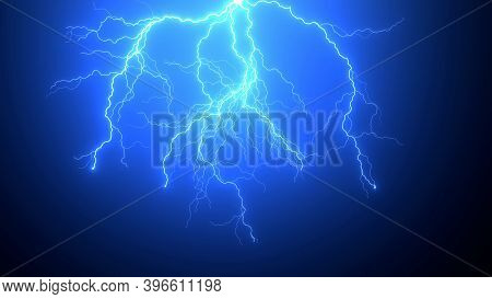 Natural Realistic Impact Of Lighting Strikes Or Lightning Bolt, Electrical Storm, Thunderstorm With