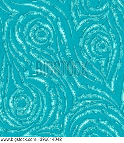 Vector Seamless Pattern In Blue And Turquoise Colors. Torn Stripes And Circles Turquoise Color Textu