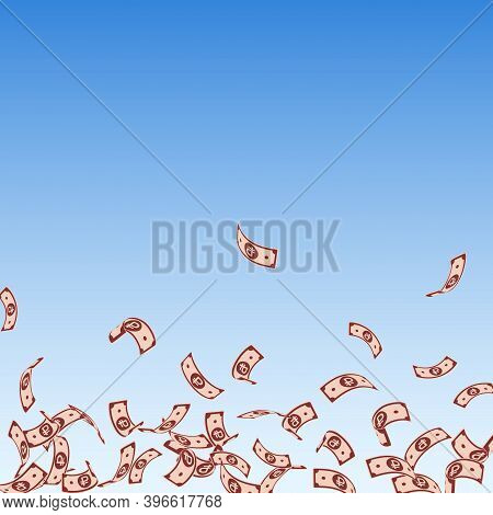 Russian Ruble Notes Falling. Sparse Rub Bills On Blue Sky Background. Russia Money. Bizarre Vector I