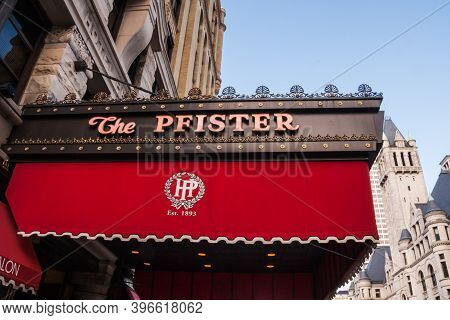 Milwaukee, Wi, Usa May 31 2011: Pfister Hotel Entrance Sign Canopy In Downtown Milwaukee, Wisconsin.