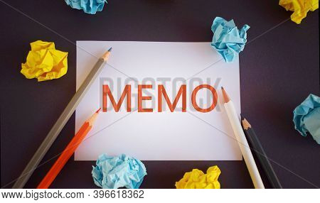 Memo Word Written Ower White Paper, With Space. Business Memo Concept