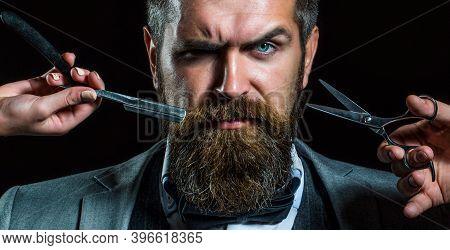 Bearded Client Visiting Barber Shop. Barber Scissors And Straight Razor, Barber Shop, Suit. Vintage